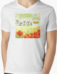Flowers collage Mens V-Neck T-Shirt