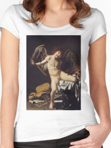 Caravaggio - Cupid as Victor around 1601 Portrait, Italian Women's Fitted Scoop T-Shirt