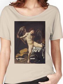 Caravaggio - Cupid as Victor around 1601 Portrait, Italian Women's Relaxed Fit T-Shirt
