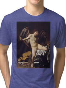 Caravaggio - Cupid as Victor around 1601 Portrait, Italian Tri-blend T-Shirt