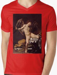 Caravaggio - Cupid as Victor around 1601 Portrait, Italian Mens V-Neck T-Shirt
