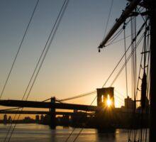 New York City Sunrise - Tall Ships and Brooklyn Bridge  Sticker