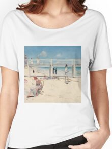 Charles Conder - A holiday at Mentone 1888 Australian Seascape Marine Women's Relaxed Fit T-Shirt