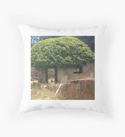 A tiny abandoned tree house. Throw Pillow