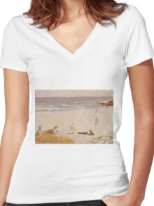 Charles Conder  - Bronte Beach 1888 Seascape Marine  Australian Women's Fitted V-Neck T-Shirt