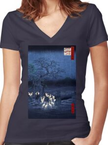 Hiroshige New Year's Eve Foxfires at the Changing Tree, Oji Women's Fitted V-Neck T-Shirt