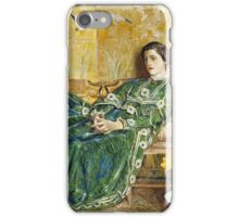 Childe Hassam - April The Green Gown ,American Impressionism Woman Portrait Fashion  iPhone Case/Skin