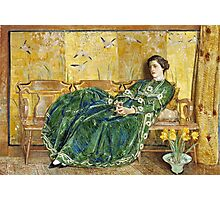 Childe Hassam - April The Green Gown ,American Impressionism Woman Portrait Fashion  Photographic Print