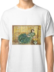 Childe Hassam - April The Green Gown ,American Impressionism Woman Portrait Fashion  Classic T-Shirt