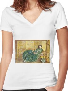 Childe Hassam - April The Green Gown ,American Impressionism Woman Portrait Fashion  Women's Fitted V-Neck T-Shirt