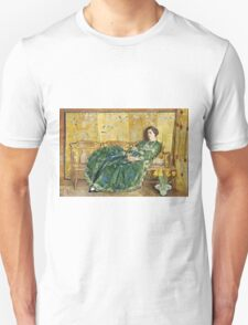 Childe Hassam - April The Green Gown ,American Impressionism Woman Portrait Fashion  Unisex T-Shirt