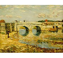 Childe Hassam - Bridge Over the Stour ,American Impressionism Landscape Photographic Print