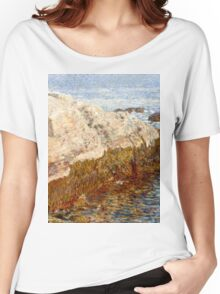 Childe Hassam - Cliff Rock - Appledore ,  American  Impressionism Seascape Marine Women's Relaxed Fit T-Shirt