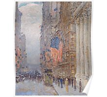 Childe Hassam - Flags on the Waldorf 1916 American Impressionism Landscape Poster