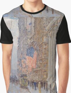 Childe Hassam - Flags on the Waldorf 1916 American Impressionism Landscape Graphic T-Shirt