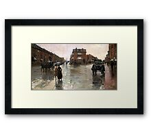 Childe Hassam - Rainy Day, Boston American Impressionism Landscape Rain Framed Print
