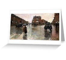 Childe Hassam - Rainy Day, Boston American Impressionism Landscape Rain Greeting Card