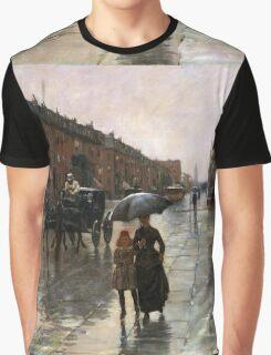 Childe Hassam - Rainy Day, Boston American Impressionism Landscape Rain Graphic T-Shirt