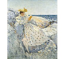 Childe Hassam - Summer Sunlight Isles of Shoals , American  Impressionism Seascape Marine Woman Portrait Fashion  Photographic Print
