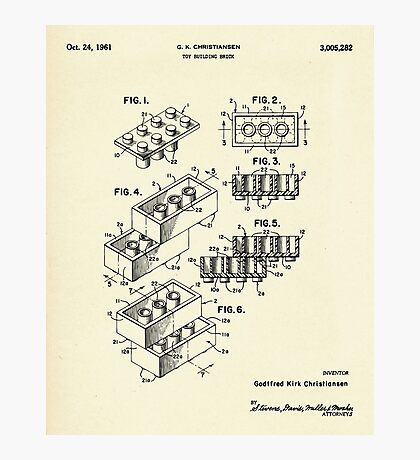 Lego Toy Building Brick-1961 Photographic Print