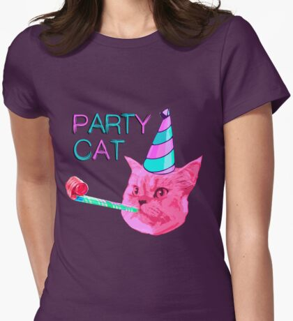 Party Cat Womens Fitted T-Shirt