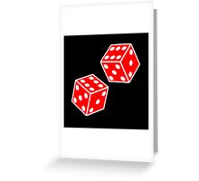 LUCKY, DOUBLE SIX, DICE, RED DICE, Throw the Dice, Casino, Game, Gamble, CRAPS, on BLACK Greeting Card