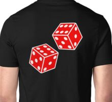 LUCKY, DOUBLE SIX, DICE, RED DICE, Throw the Dice, Casino, Game, Gamble, CRAPS, on BLACK Unisex T-Shirt