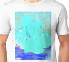 Neon Winter Rose, Abstract In Nature, Ice Blue Unisex T-Shirt