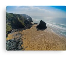 Bedruthan Steps Cornwall Sand Drawing Canvas Print