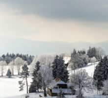 Snow-covered hills wide panoramic view, french mountains Vosges Sticker