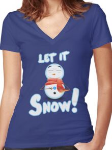 Let It Snow! Women's Fitted V-Neck T-Shirt