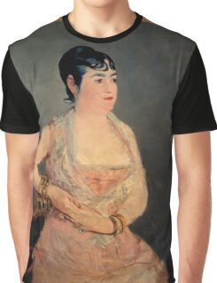 Edouard Manet - Lady in Pink 1879 - 1881 , French Impressionism , Woman , Fashion ,  Portrait Graphic T-Shirt