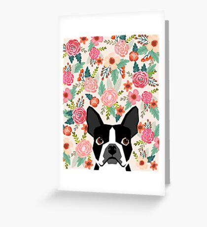 Boston Terrier florals pattern print flowers spring summer cute dog portrait art print dog breed gifts for dog person  Greeting Card