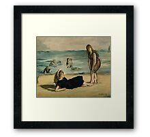 Edouard Manet - On the Beach 1868 , Impressionism  Seascape  Framed Print