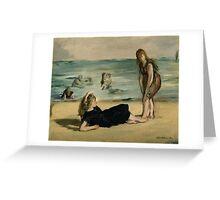 Edouard Manet - On the Beach 1868 , Impressionism  Seascape  Greeting Card