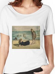 Edouard Manet - On the Beach 1868 , Impressionism  Seascape  Women's Relaxed Fit T-Shirt