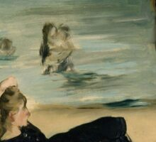Edouard Manet - On the Beach 1868 , Impressionism  Seascape  Sticker