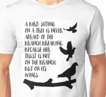 A bird sitting on a tree Unisex T-Shirt