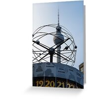 Berlin, World Time Clock with TV Tower Greeting Card