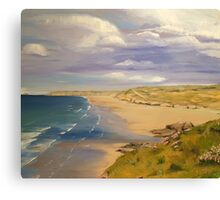 Perranporth Beach Painting Canvas Print