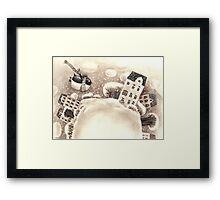 Cute Cartoon Flying Penguin Framed Print