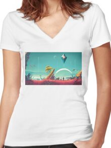 No Man's Sky Landscape Design Women's Fitted V-Neck T-Shirt