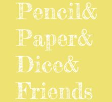 Pencil, Paper, Dice, Friends One Piece - Short Sleeve