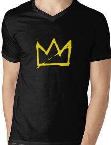 Yellow BASQUIAT CROWN Mens V-Neck T-Shirt