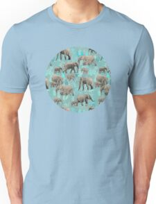 Sweet Elephants in Soft Teal Unisex T-Shirt