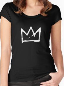 White Basquiat crown Women's Fitted Scoop T-Shirt