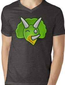 Cute Green Triceratops Dinosaur Head/Face Mens V-Neck T-Shirt