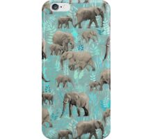 Sweet Elephants in Soft Teal iPhone Case/Skin