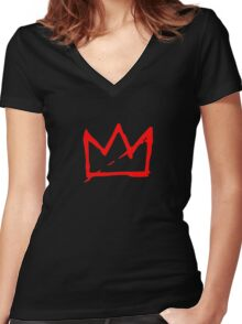 Red Basquiat crown Women's Fitted V-Neck T-Shirt