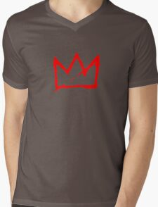 Red Basquiat crown Mens V-Neck T-Shirt
